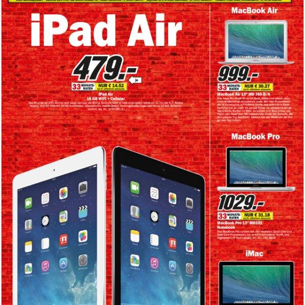 iPad Air - WLAN+4G für 479€