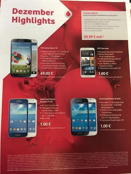 Vodafone RED XS + Samsung Galaxy S4 mini = 24x 29,99€ +1