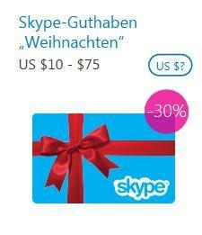 Skype Guthaben 30% günstiger kaufen...