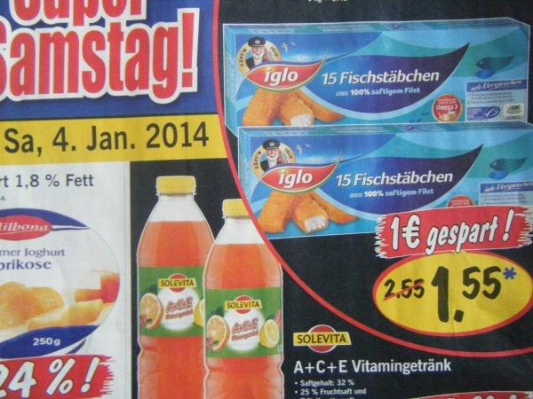 Kapt´n Iglo Fischstäbchen 15 Stück (450g) für 1,55€ bei Lidl