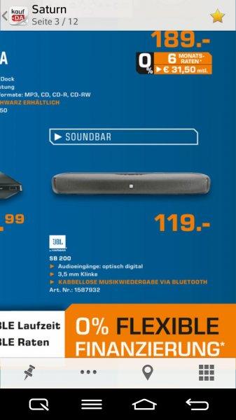 Jbl SB200 Soundbar mit Bluetooth @ Saturn für 119€!!
