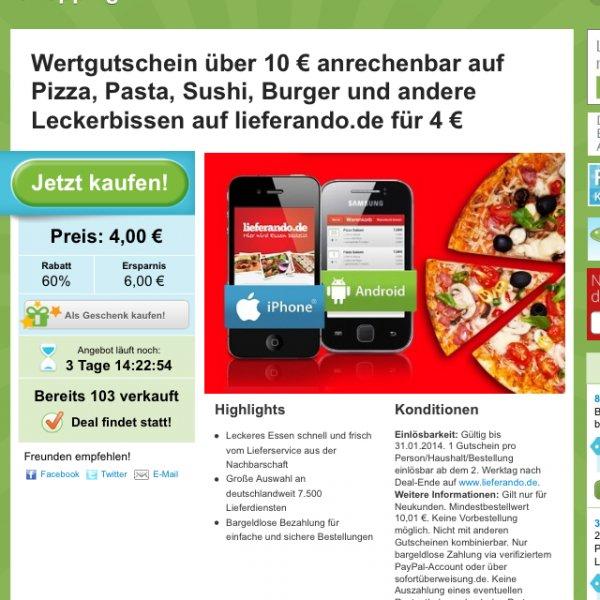 Groupon Lieferando Gutschein 10 € für 4 €