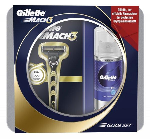 Geschenkset Gillette Mach3 Rasierer Golden plus Gratis Series MiniGel 75 ml für 4,29€ (Prime Mitglieder)