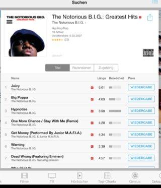 Notorious B.I.G. Greatest Hits bei iTunes für 5€