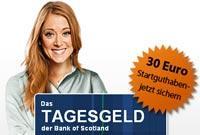 Bank of Scotland: Tagesgeldkonto mit 2,4% Zinsen p.a. Neukunden Prämie 30 € + 45 € Qipu Cashback