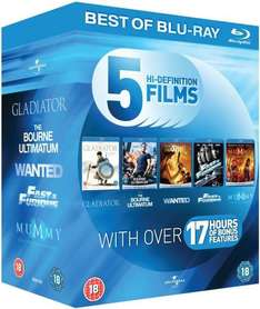 Blu-ray Action Starter Pack mit 5 Filmen (Gladiator, Bourne Ultimatum, Wanted, Fast & Furious 4, Die Mumie) inkl. deutscher Tonspur für ~ 12,57€
