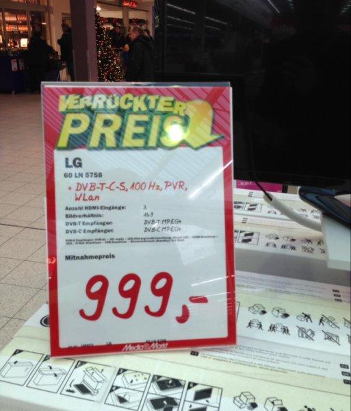 [Lokal MM Hamburg Nedderfeld] LG 60LN5758 152 cm (60 Zoll) LED-Backlight-Fernseher ( Idealo 1006,99)