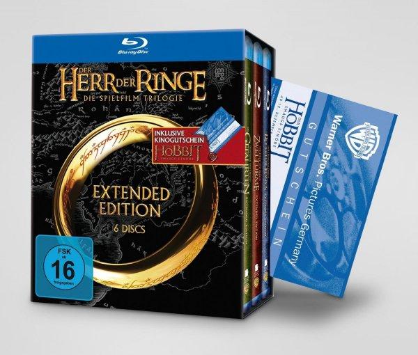 Herr der Ringe Extended Blu Ray inkl. Hobbit-Kinogutschein @Amazon