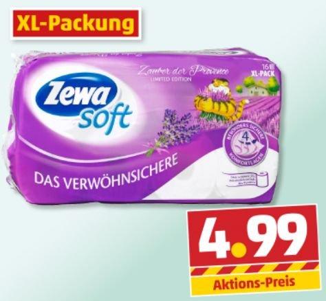 Ist doch alles für n' Arsch! Zewa Soft Toilettenpapier 4 - Lagig Limited Edition XL Packung für 4,99€ @Penny