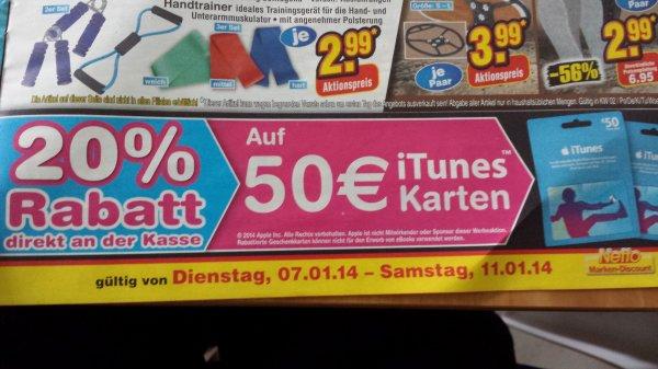 20% auf 50€ iTunes Karten bei Netto evtl. Lokal