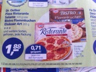 (COUPIES) Dr. Oetker Ristorante Pizza für 1,38 EUR (maximal 10 Stück) bei EDEKA und REAL + Marktkauf (evtl. Regional)  (6.1.-11.1.2014)