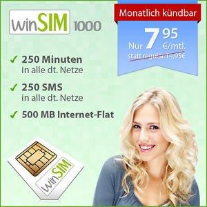 winSIM 1000 - 7,95€/Monat - 250 SMS, 250 Inklusivminuten, 500MB UMTS Internet-Flatrate im o2-Netz