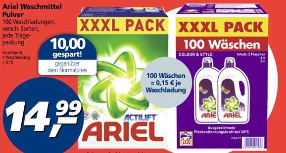 [lokal ?] ] Real: Ariel XXXL Waschmittel Pulver 100 WL oder Flüssig 2 x 50WL für 14,99 Cent/WL