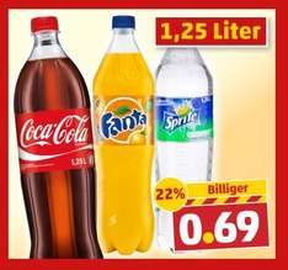 Coca Cola,Fanta,Sprite 1,25L 0,69€ @ PENNY
