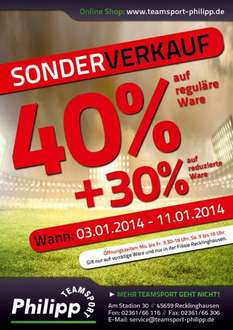 [lokal Recklinghausen] Ausverkauf -40% @Teamsport-Philipp in Recklinghausen