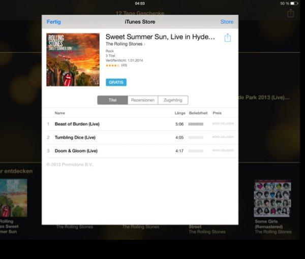 """3 gratis Songs von den Rolling Stones """"itunes"""""""