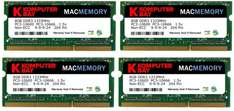Komputerbay MACMEMORY 32GB (4X8GB) PC3-10600 PC3-10666 1333MHz SODIMM 204-Pin Laptop Speicher 9-9-9-24 für Apple Mac für 71,78 € @Amazon.co.uk