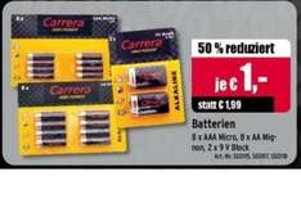[lokal ATU] CARRERA Alkaline Batterien 8 Stück für 1EUR statt 1,99