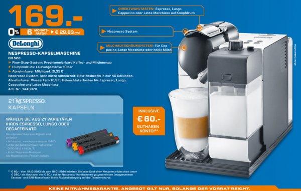 [lokal Köln] Nespresso Lattissima 520 für € 169,- und € 60,- Kapselgutschein bei Saturn