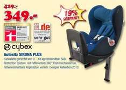 "[Babywelt lokal] CYBEX Sirona Reboarder Kindersitz Testsieger ""Sehr gut"""
