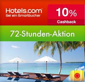 72-Stunden-Sale bei Hotels.com, Reisezeitraum 07.01.2014 – 23.02.2014 + 10% Cashback