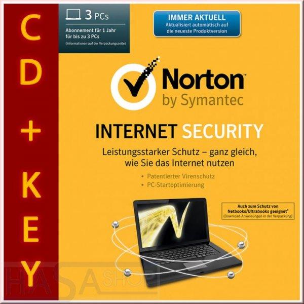 Symantec NORTON INTERNET SECURITY 2014 3-PC/ 1 Jahr Vollversion mit CD /23,90€