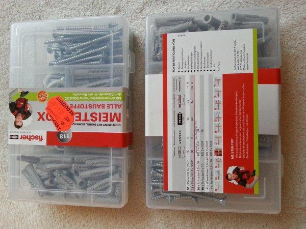 [Kaufland] Fischer Schrauben & Dübel MeisterBox für alle Baustoffe (inkl. 8 Winkel- & Rundhaken) 118 Teile für 2,49€