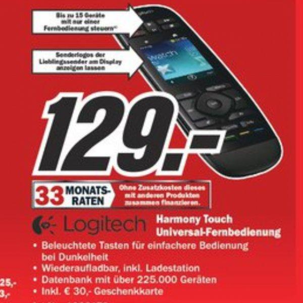 Logitech Harmony Touch + 30€ Geschenkkarte für 129€ (Ggf. 4,99€ Versand) @ Media Markt