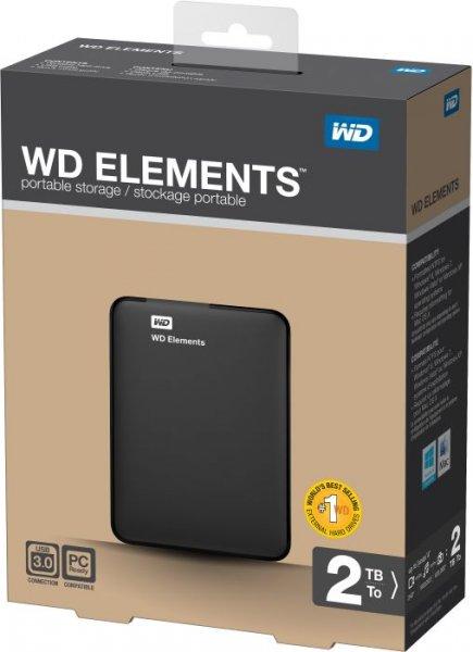 WESTERN-DIGITAL Elements 2TB, tragbare Festplatte, schwarz, 2,5 Zoll, USB 3.0  99€ inkl. VK Amazon