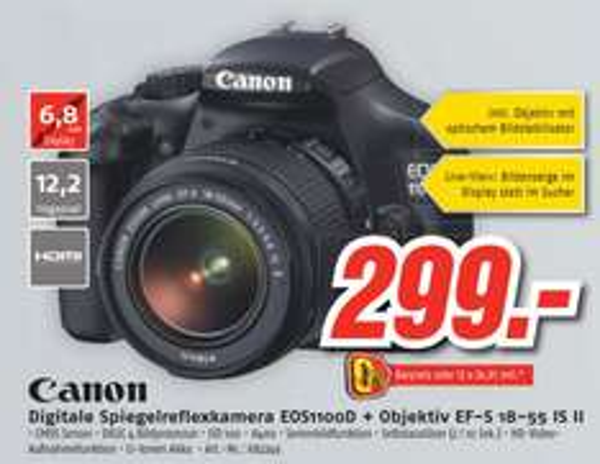 [Lokal] CANON EOS 1100D+18-55mm mit Bildstabi im Medimax Cottbus für 299Euro