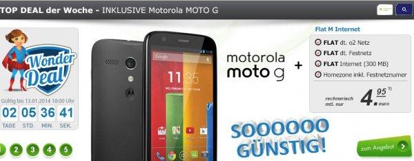 Motorola Moto G black + Internet Flat + Festnetz Flat + o2 Flat für 4,95 EUR im Monat
