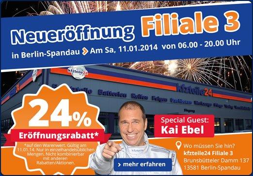 Neueröffnung KFZ-Teile24 Berlin-Spandau am 11.01. 24% Rabatt auf alles!