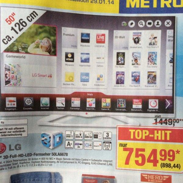 "Offline @ Metro 50"" LED 3D tv 100€ unter idealo LG 50LA6678 für 898,44€ brutto"