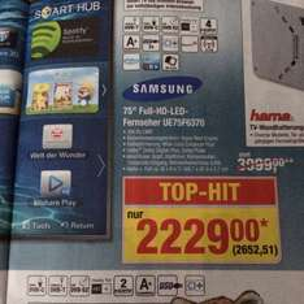 "Offline @ Metro 75"" TV LED 50€ unter idealo Samsung ue75f6370"