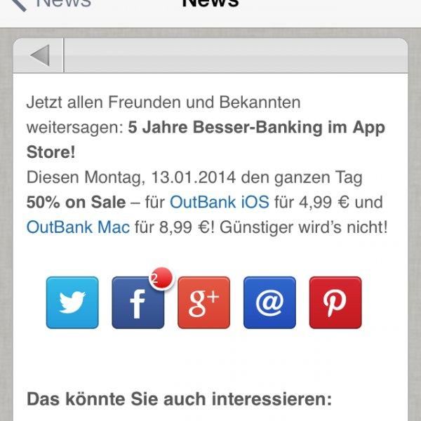 [iOS/Mac] OutBank am Montag 50% günstiger