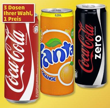 [Penny] 3 Dosen Coca-Cola, Zero, Fanta, Mezzo Mix ab 16.01. für 0,99 Euro