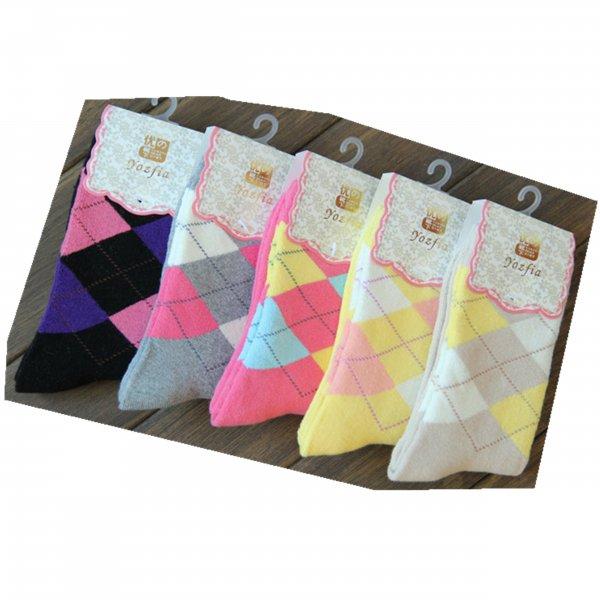 5 Paar Winter Socken, Damensocken,100% Baumwolle, Einheitgröße