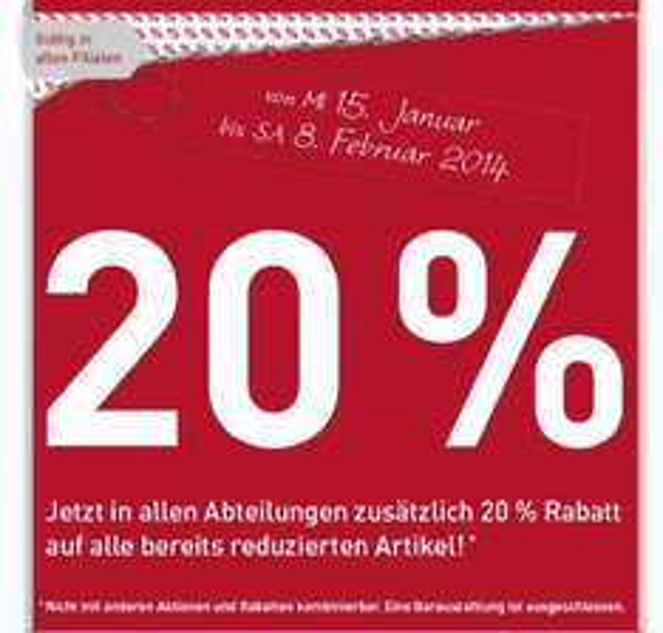 [Bundesweit] 20% auf reduzierte Ware bei Modepark Röther