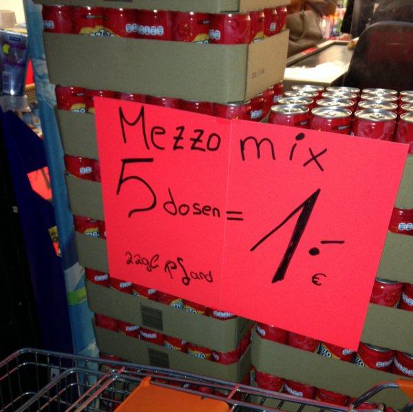"""(Lokal) Bochum """"As Sonderposten"""" 5Dosen Mezzo Mix 1€ / 6 Snickers 1€ / 5 Balisto 0,50€ / Axe Deo 1,99"""