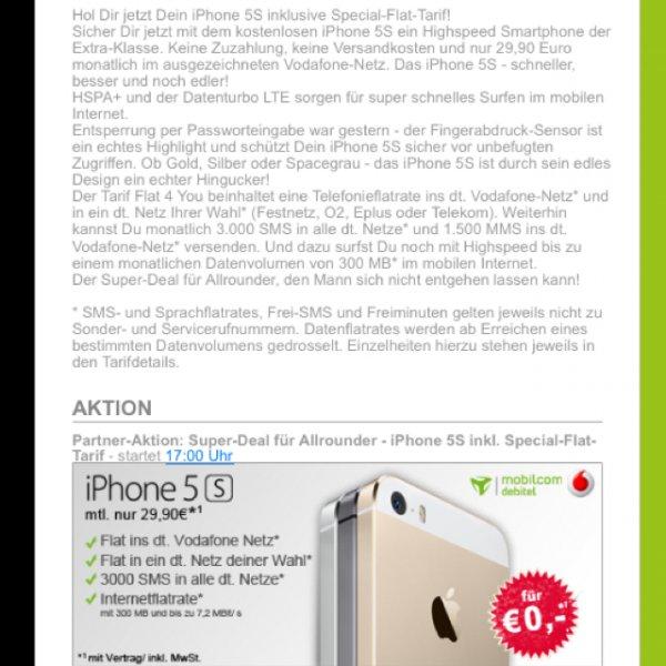 iPhone 5S für nope + 29,90€ pro Monat (Vodafone Netz - über Pauldirekt an Handyliga.de) als Mobilcom-Debitel-Vertrag