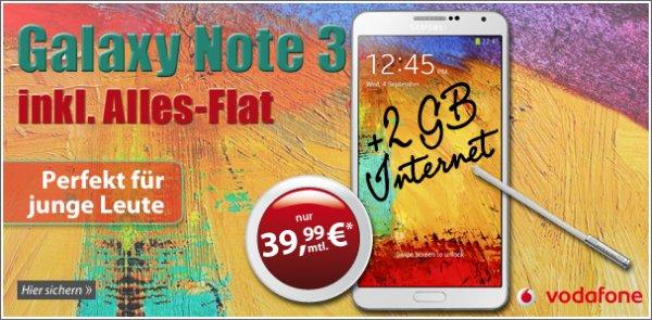 Samsung Galaxy Note 3 mit Vodafone RED M 39,99€ im Monat (959,76€ in 2 Jahren)