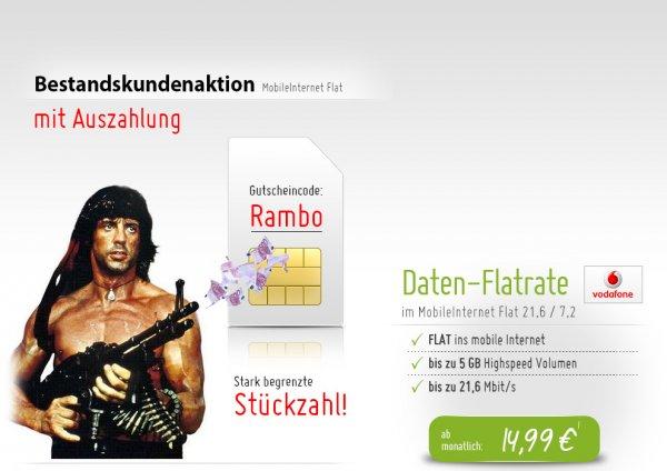 Vodafone MobileInternet Flat 21,6 Mbit/s mit 4,5GB im ersten Jahr, 19,99€/Monat und 410€ Auszahlung