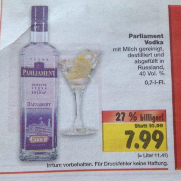 Parliament Vodka 0,7 L für 7,99€!!! @ Kaufland