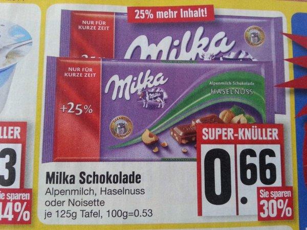 MILKA Schokolade 125!g  für 0,66 € Edeka Südbayern evtl. Bundesweit