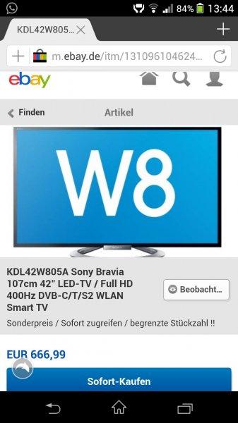 [Online - ebay] Sony Bravia 42w805a