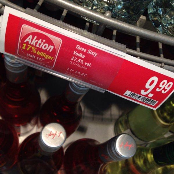 Three Sixty Vodka für 9,99€ bei HIT (evtl. nur München)