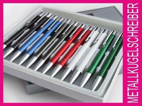 [ebay] 12x Metallkugelschreiber inkl. Gravur (Logo, Text, Werbung), verschiedene Modelle u. Farben