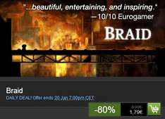 "Steam-Deal für ""Braid"" 1,79€ anstatt 8,99€ (-80%)"