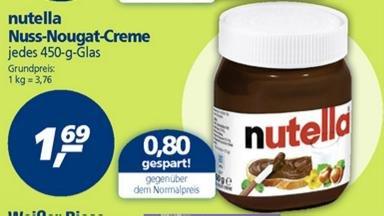 (Bundesweit?) Nutella 450g für 1,69 bei real