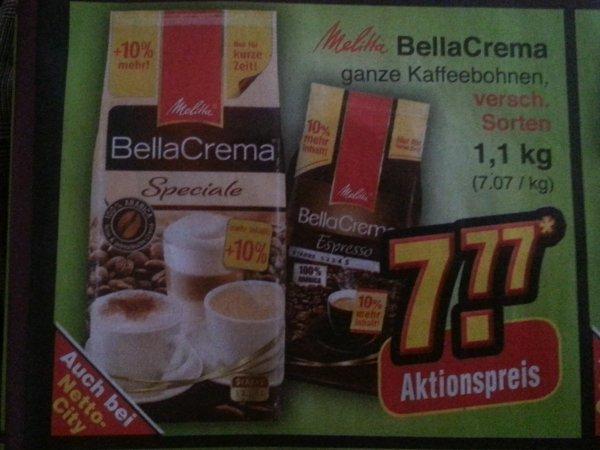 Melitta Bella Crema div. Sorten 1100g (+10% / 7,07€ je kg) Netto ohne Hund